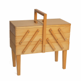 Sewing Box Cantilever Wood 3 Tier with Legs