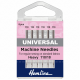 Hemline Universal Sewing Machine Needles - Size 110/18