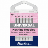 Hemline Universal Sewing Machine Needles - Assorted 60-80