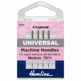 Hemline Universal Sewing Machine Needles - Pack 3 TITANIUM 75/11
