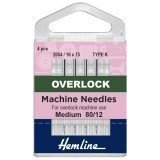 Hemline Overlock/Serger Machine Needles Type K - Size 80/12