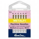 Hemline Metallic Sewing Machine Needles - Size 80/12