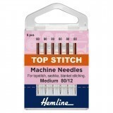 Hemline Topstitch Sewing Machine Needles - Size 80/12