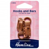 Hemline Hook and Bar Fastener Brown - 2 Pieces