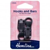 Hemline Hook and Bar Fastener Dark Grey - 2 Pieces