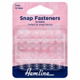 Hemline Snap Fasteners Sew-on Clear (Invisible) 7mm Pack of 12