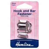 Hemline Hook and Bar Fastener Nickel - 20mm