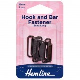 Hemline Hook and Bar Fastener Black - 25mm