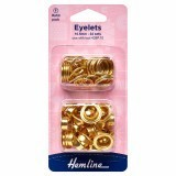 Hemline Eyelets Refill Pack of Gold/Brass - 10.5mm (F)