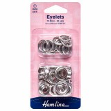 Hemline Eyelets Refill Pack of Nickel/Silver - 10.5mm (F)