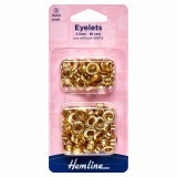 Hemline Eyelets Refill Pack of Gold/Brass - 5.5mm (D)