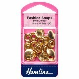 Hemline Fashion Snaps Gold - Solid Top, 11mm - 6 Sets