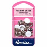 Hemline Fashion Snaps White - Solid Top, 11mm - 6 Sets