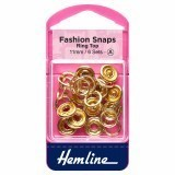 Hemline Fashion Snaps Gold - Ring Top, 11mm - 6 Sets