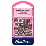 Hemline Fashion Snaps White - Ring Top, 11mm - 6 Sets
