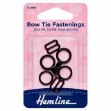 Hemline Bow Tie Set Black 2 Sets