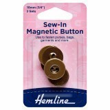 Hemline Button Magnetic Sew-In 18mm Brass 3 Sets
