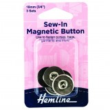 Hemline Button Magnetic Sew-In 18mm Nickel 3 Sets