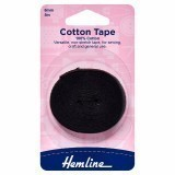 Hemline Cotton Tape Black - 5m x 6mm