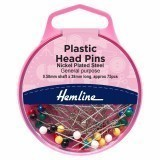 Hemline Pins Plastic Coloured Head 0.58 x 38mm Nickel 75 Pieces