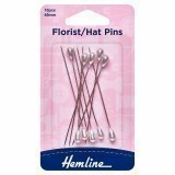 Hemline Pins Florist/Hat 65mm Nickel 10 Pieces