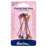 Hemline Multi-Coloured Florist/Hat Pins 70mm, 12pcs