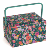 HobbyGift Sewing Box Large - Floral Garden: Teal