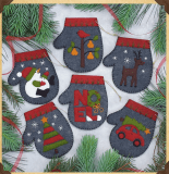 Christmas Charcoal Mitten Kit. Six Individual Mittens to make yourself.