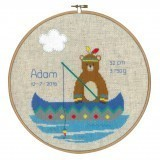 Counted Cross Stitch Birth Record: Lief! Indian Bear - Canoe