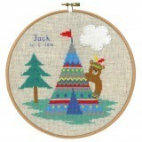 Counted Cross Stitch Birth Record: Lief! Indian Bear - Tepee