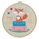 Counted Cross Stitch Birth Record: Lief! Fox on Travel