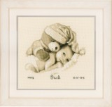 Counted Cross Stitch Birth Record: Baby & Teddy