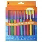 Pony Crochet Hook Set - Easy Grip Handle with Flat Finger 14cm x Sizes 2-6mm