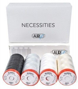 Aurifil Necessities Neutral Collection Set of 4 x Aurifil 50 1300m Reel in Presentation Box.