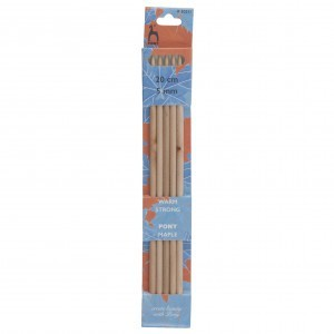 Pony Double Ended Knitting Pins Set of Five Maple 20cm x 5mm