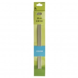 Pony Double Ended Knitting Pins Set of Five Aluminium 20cm x 2.50mm