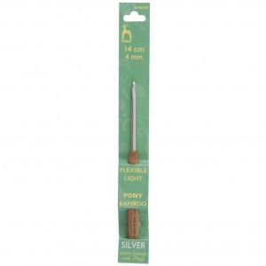 Pony Crochet Hook Aluminium with Bamboo Handle 14cm x 4mm